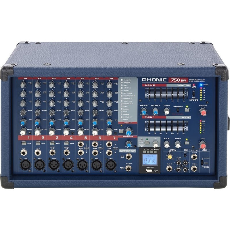 Phonic Powerpod750RW aangedreven Mixer met USB-Recorder & Bluetooth